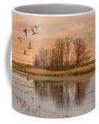 Migrating Swans With Sunrise Coffee Mug