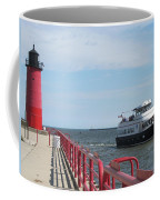Milwaukee Harbor And Boat Coffee Mug