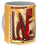 Mini Pop Art Gold Red Love Original Painting By Madart Coffee Mug