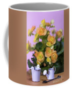 Miniature Gardening Kit With Orange Begonia Background Coffee Mug