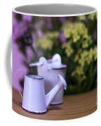Miniature Gardening Kit With Pink And Yellow Kalanchoe Backgroun Coffee Mug
