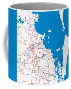 Minimalist Modern Map Of Brisbane, Australia 6 Coffee Mug