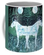 Mirror Image Goats In Moonlight Coffee Mug by Carol Law Conklin