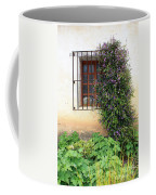 Mission Window With Purple Flowers Vertical Coffee Mug