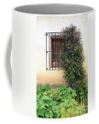 Mission Window With Purple Flowers Vertical Coffee Mug