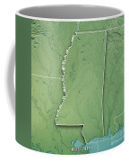 Mississippi State Usa 3d Render Topographic Map Border Coffee Mug