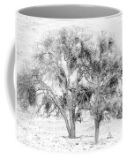 Mistletoe Tree In Black And  White Coffee Mug
