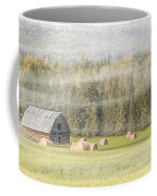 Misty Morning Haybales Coffee Mug