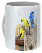 Misty Morning Meadow- Goldfinches And Bluebird Coffee Mug