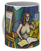 Model In Studio With Book Coffee Mug