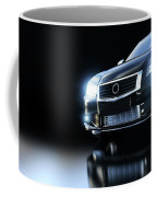 Modern Black Metallic Sedan Car In Spotlight. Banner Coffee Mug