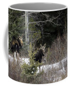 Mom And Calf  In The Forest Coffee Mug