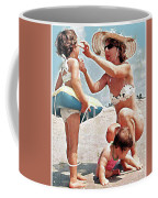 Mom With Girls At Beach Coffee Mug