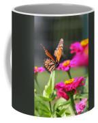Monarch Approaching Zinnia 2 Coffee Mug