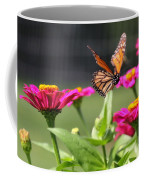 Monarch Approaching Zinnia Coffee Mug