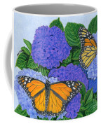 Monarch Butterflies And Hydrangeas Coffee Mug