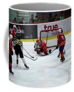 Mongolia Team Players Defend Goal Vs Malaysia In Ice Hockey Match In Rink Bangkok Thailand Coffee Mug
