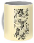 Monkeys Black And White Illustration Coffee Mug