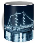 Monochrome Blue Boston Tall Ships At Night Boston Ma Coffee Mug