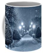 Monochrome Blue Nights Boston Public Garden Snow Storm Ma Massachusetts Bridge Lights Coffee Mug