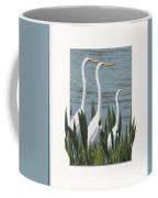 Montage With 3 Great White Egrets Coffee Mug