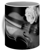 Moody Violin And Rose In Black And White Coffee Mug