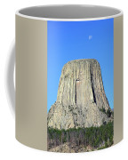 Moon And Devil's Tower National Monument, Wyoming Coffee Mug