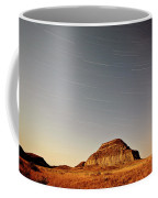 Moon Lit Castle Butte And Star Tracks In Scenic Saskatchewan Coffee Mug