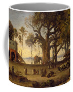 Moonlit Scene Of Indian Figures And Elephants Among Banyan Trees Coffee Mug