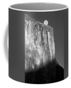 M-m6506-e-bw-moonrise Over El Capitan At Sunset  Coffee Mug