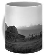 Mormon Row Sunset Panorama Bw Coffee Mug