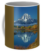 Morning Cloud Layer Oxbow Bend In Fall Grand Tetons National Park Coffee Mug by Dave Welling