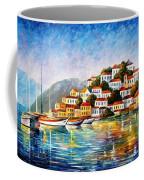 Morning Harbor - Palette Knife Oil Painting On Canvas By Leonid Afremov Coffee Mug