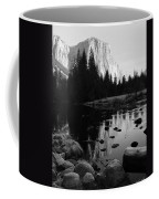 Morning Sunlight On El Cap - Black And White Coffee Mug