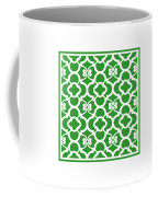Moroccan Floral Inspired With Border In Dublin Green Coffee Mug