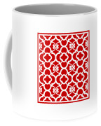 Moroccan Floral Inspired With Border In Red Coffee Mug