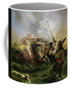 Moroccan Horsemen In Military Action Coffee Mug by Ferdinand Victor Eugene Delacroix