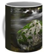 Mossy Boulder In Mountain Stream Coffee Mug