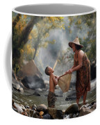 Mother And Son Are Happy With The Fish In The Natural Water Coffee Mug