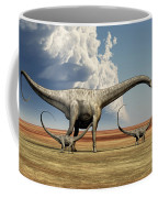Mother Diplodocus Dinosaur Walks Coffee Mug by Corey Ford