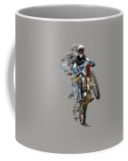 Motocross Rider With Flying Pieces Coffee Mug