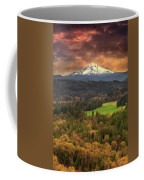 Mount Hood At Sandy River Valley In Fall Coffee Mug