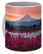 Mount Hood Sunrise With Tulips Coffee Mug