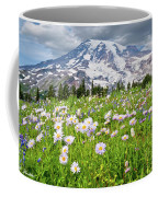 Mount Rainier And A Meadow Of Aster Coffee Mug