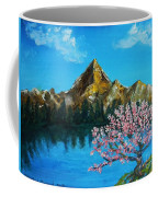 Mountain And Pink Tree Coffee Mug
