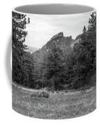 Mountain Peak Through The Trees In Black And White Coffee Mug