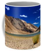 Mountains And Green Vegetation Chagor Tso - Lake Leh Ladakh Jammu Kashmir India Coffee Mug