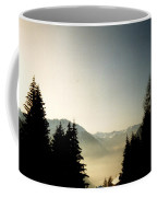 Mountains Through The Trees At Sunrise Coffee Mug