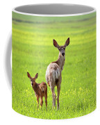 Mule Deer Doe And Fawn Looking Back Over Their Shoulders Coffee Mug