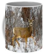 Mule Deer Portrait In Heavy Snow Coffee Mug